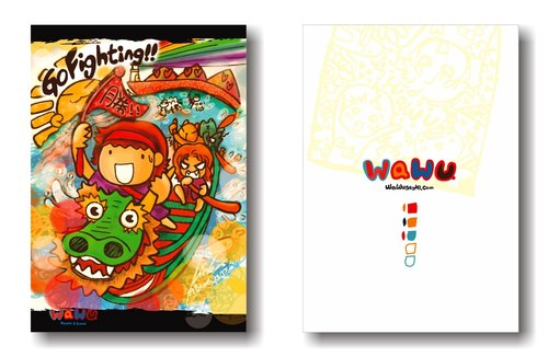 WaWu Go Fighting!! 戰鬥卡 /手繪 /自製明信片 /限量手工卡