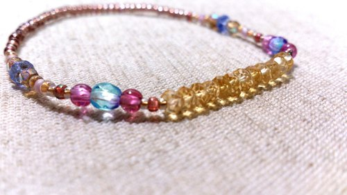 crystal in dearsharka || 黃水晶 x 淨透小圓粉紅碧璽 x 丹泉石.潤暖沁黃的煦煦美麗