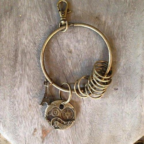 鑰匙圈/仿舊復古守門人大鑰匙圈-機械齒輪
