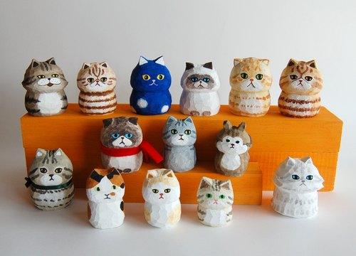 buni puni 木雕猫- 白茶色圆滚滚猫