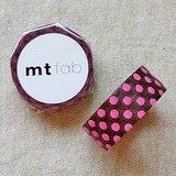 mt 和紙膠帶 fab 植絨系列【水玉款 深咖啡+桃紅(MTFL1P07)】
