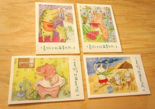 針線球【暑假中的圖畫日記】車縫明信片-夏季限定 (全套四張)
