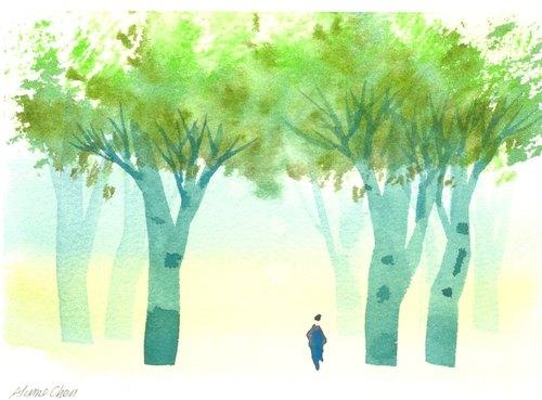 「疗愈系树林系列1-21」水彩手绘限量版明信片/贺卡
