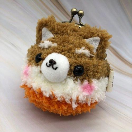 毛线编织动物零钱包 口金包-柴犬