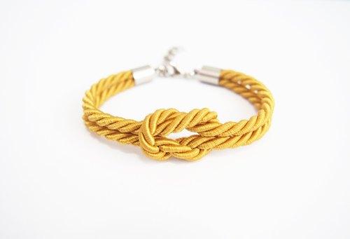 Nautical bracelet - caramel yellow bracelet - silk rope bracelet - marine bracelet - sailing bracelet - rope knot jewelry