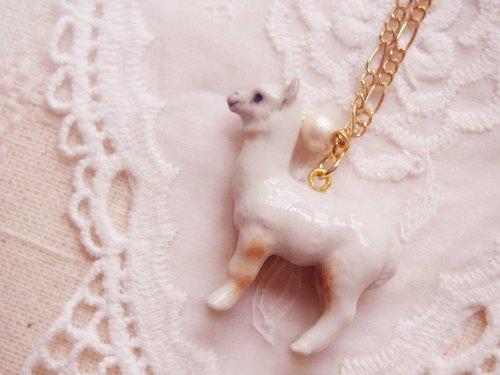 童话森林系列系列 羊驼 草泥马 动物精致陶瓷长颈链