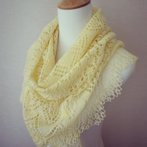 春分 手工编织蕾丝披肩/围巾