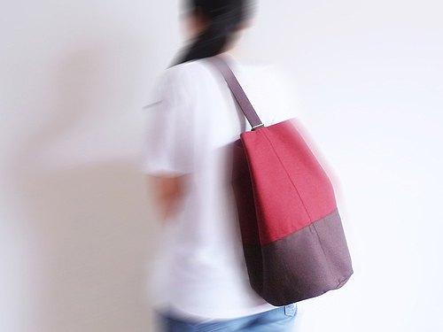 暗紅X深咖啡色水手桶(圓)型束口肩後斜背包