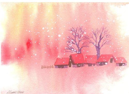 """圣诞节""""疗愈系树林系列1-80""""水彩手绘限量版明信片"""