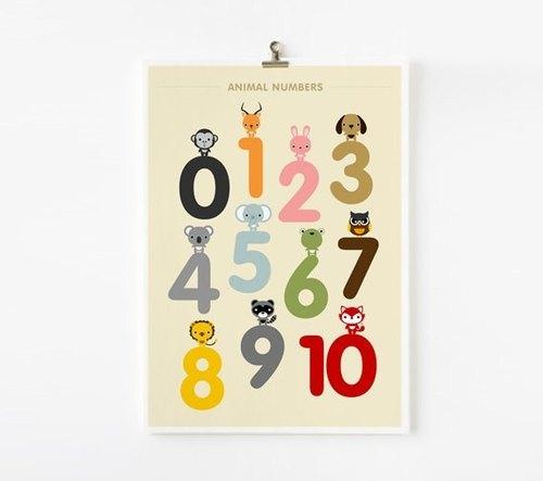 123数字动物学习海报
