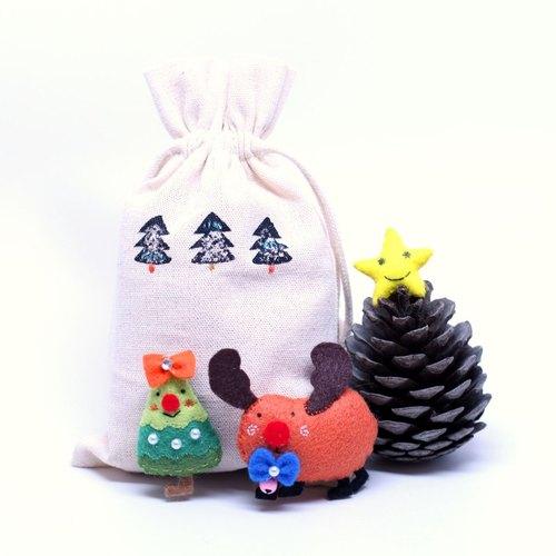 【叮叮当圣诞节限定】 麋鹿,星星,小树圣诞礼物包/磁铁/吊饰/别针~一