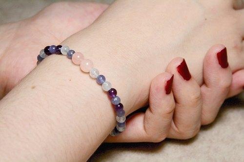 [Ofelia arts & crafts]天然石系列−天然丹泉石、海水藍寶、綠柱石、紫水晶手鍊 [J34-Violet]
