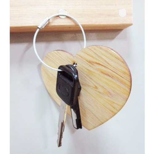 原木心鋼索鑰匙圈