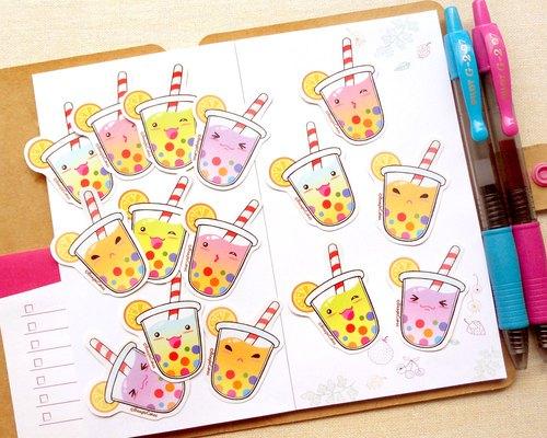 彩虹珍珠奶茶贴纸 - 可爱q版珍奶手帐贴纸组15入 - 手绘贴纸 - 饮料小