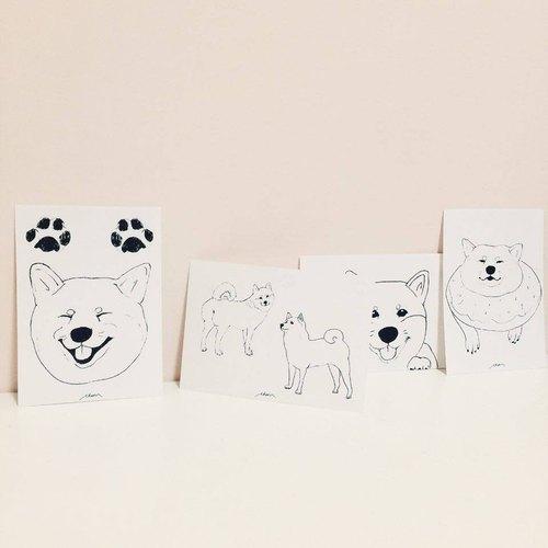 手绘明信片 - 柴犬的日常系列(四张特惠组合) - cheer