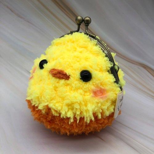 毛线编织动物零钱包 口金包-黄小鸭