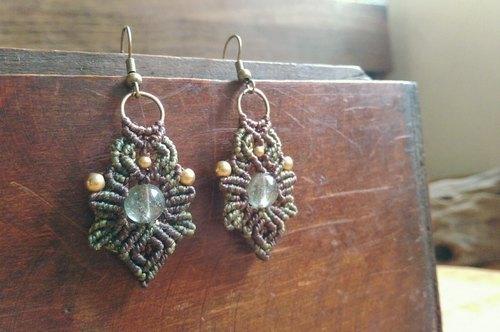 发晶黄铜南美蜡线手工编绳耳环