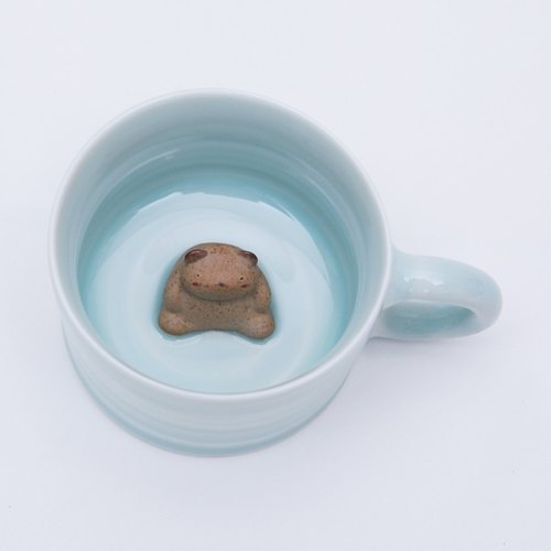 创意手工陶泥小熊坐杯底陶瓷带手把可爱咖啡杯水杯