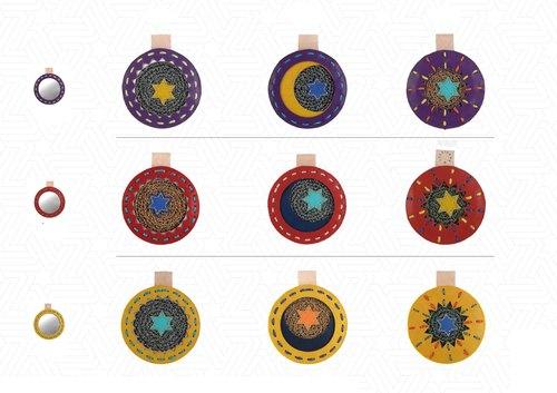 全手工星星,月亮,太阳图案皮革并合手织镜子 star图片