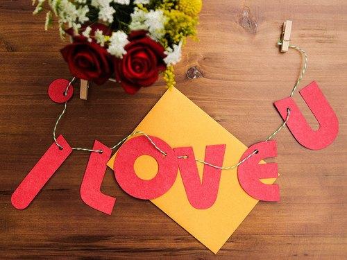 情人節 I Love U 種子紙字母卡片