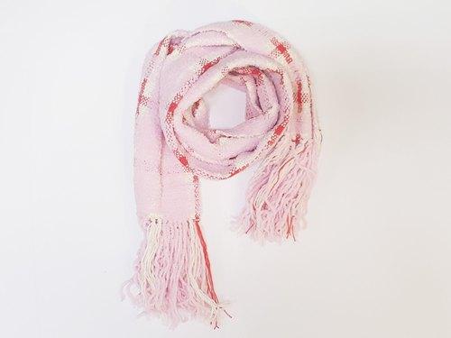 //Cross-Pink//手織手感圍巾 限量一條