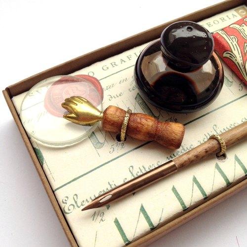 ◤7502義大利木桿沾水筆禮盒-小手放大鏡   歐式 蘸水筆 復古 書寫 文具 筆尖 Francesco Rubinato