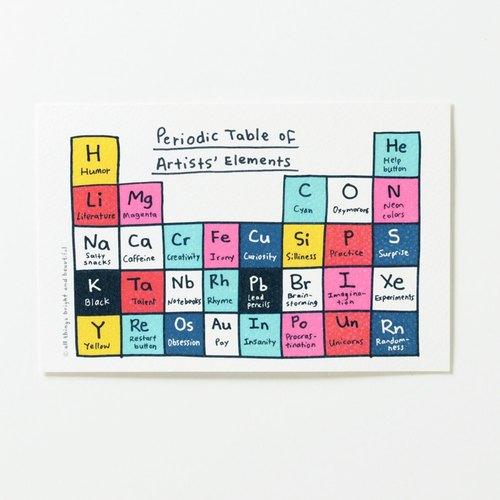 藝術家的元素週期表 明信片 Artists' Elements Postcard