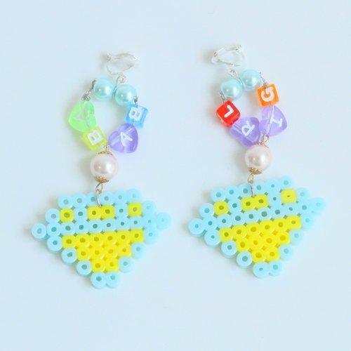 baby|日系彩色塑胶串珠拼豆工艺耳环耳夹 像素风格