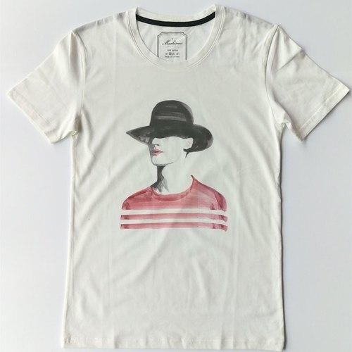 戴帽男-水彩手绘风白色短袖t恤