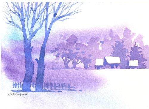 「疗愈系树林系列1-40」水彩手绘限量版明信片/贺卡