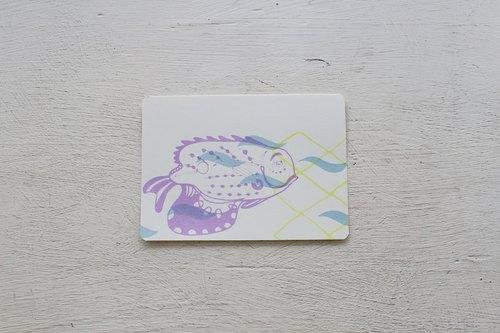 【ZhiZhiRen】厵 | 絹印明信片 - 旗津補魚 - 馬頭魚