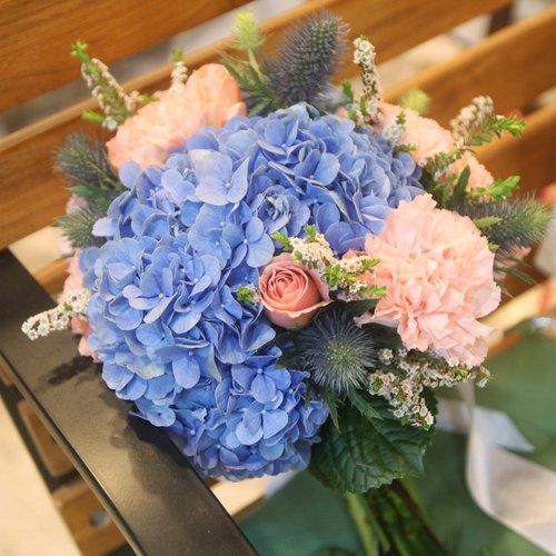 漫花草-水蓝色绣球新娘捧花 定制化婚礼捧花 欧式鲜花捧花