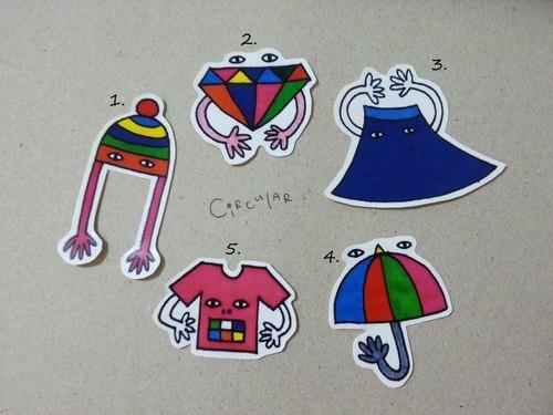 手繪貼紙: 毛帽/鑽石/藍長裙/雨傘/粉紅T - Circular 圓臉 ...