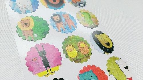 圈圈小花贴纸-可爱动物+猫头鹰