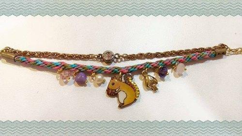 双层编织加链手绘图案手链 - 芙格鹿设计好物 | pinkoi