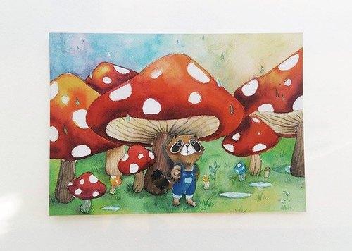 雨中躲在菇菇下的小浣熊