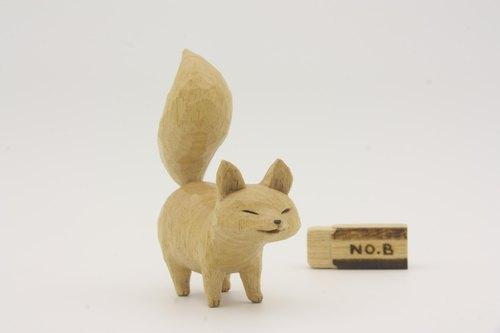 疗愈系木雕小动物_小狐狸b_原木色_fox (原木手工雕刻)