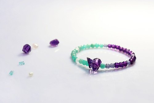 [Ofelia arts & crafts]天然石系列−天然紫水晶x冰種天河石x丹泉石x海水藍寶手鍊 [J64-Ethel]