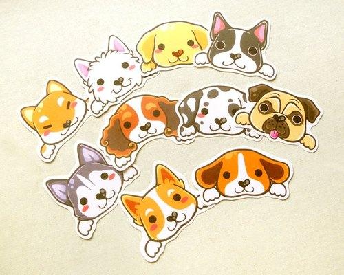 狗狗贴纸组10入 - 可爱宠物贴纸 - 狗贴纸 - 手绘贴纸 - cute dog sti
