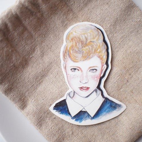 Bon Bon Stickers 金髮雀斑少女 大貼紙