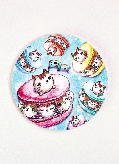 好喵 卡哇伊かわいい手绘陶瓷吸水杯垫~ 猫咪马卡龙