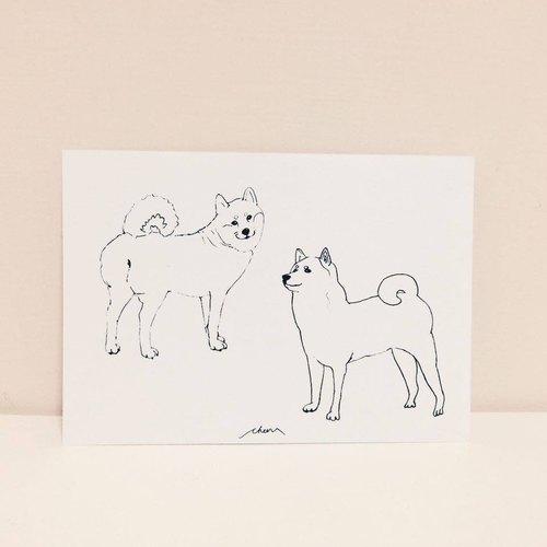回眸柴犬 美姿美仪柴犬 手绘明信片 - 柴犬的日常系列