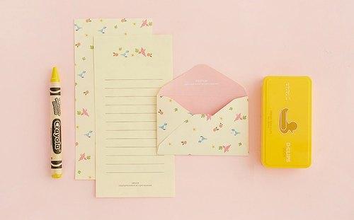 ardium 可爱动物信纸组(一组三份)- 黄底鸟儿