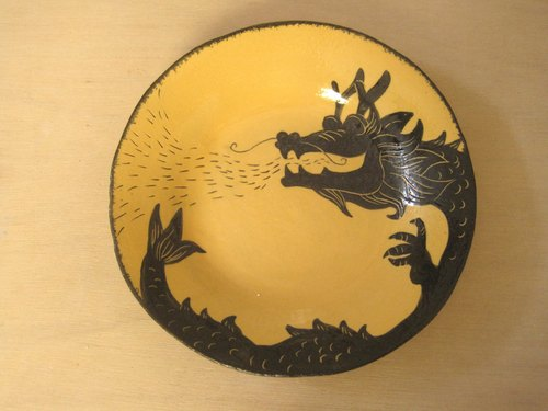 dodo手作 悄悄话.动物剪影系列-龙纹圆盘(黄色)