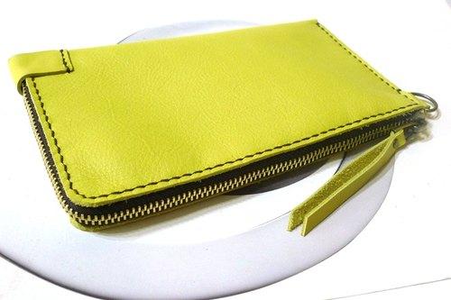 新色上架-旅行護鈔包長夾_手縫皮件 旅行好物-檸黃款(焦茶布銅鍊)-Fossil用皮
