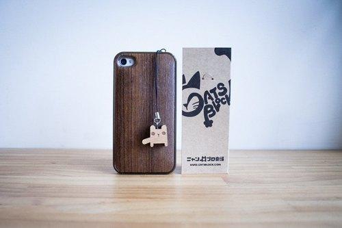 方块猫原木制手机吊饰