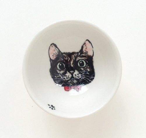 手绘小茶杯-小黑猫