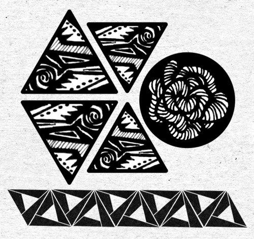 抽象图腾三角形与山茶花的设计, 彰显你的个人独特魅力.