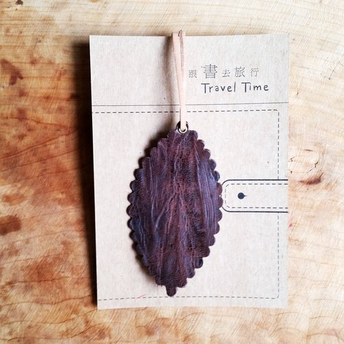 【圣诞节礼物】真皮皮革牛皮-旅人书签/吊饰/卡片(树木纹)-可加购定制
