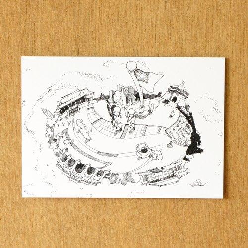 【一色】系列手绘风景明信片『台湾 中正纪念堂』
